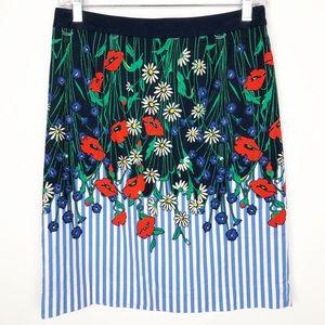 Postmark Pencil Skirt Striped Flowers Garden